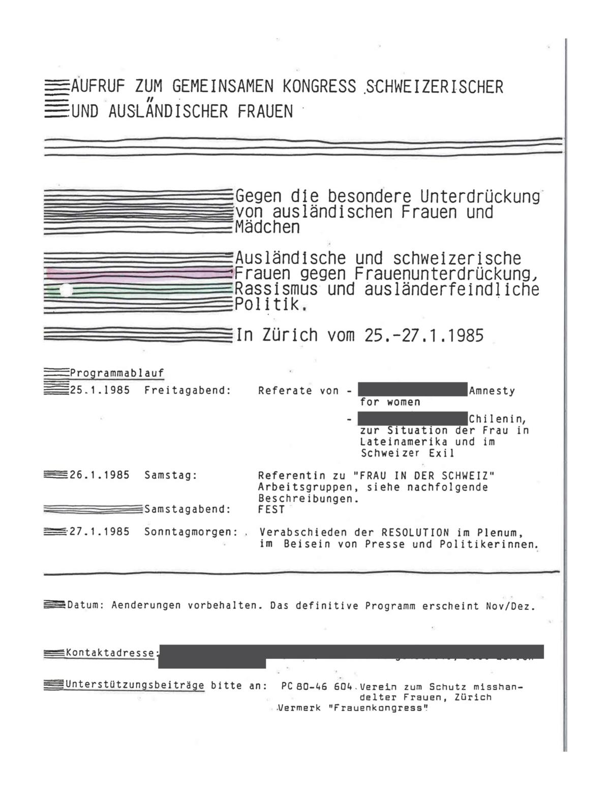 """Erste Seite des Aufrufs """"Aufruf zum Gemeinsamen Kongress Schweizerischer und Ausländerischer Frauen. Gegen die besondere Unterdrükcung von ausländischen Frauen und Mädchen; UAsländische und schweizerische Frauen gegen Frauenunterdrückung, Rassismus und ausländerfeindliche Politik. In Zürich vom 25.-27.1.1985"""""""