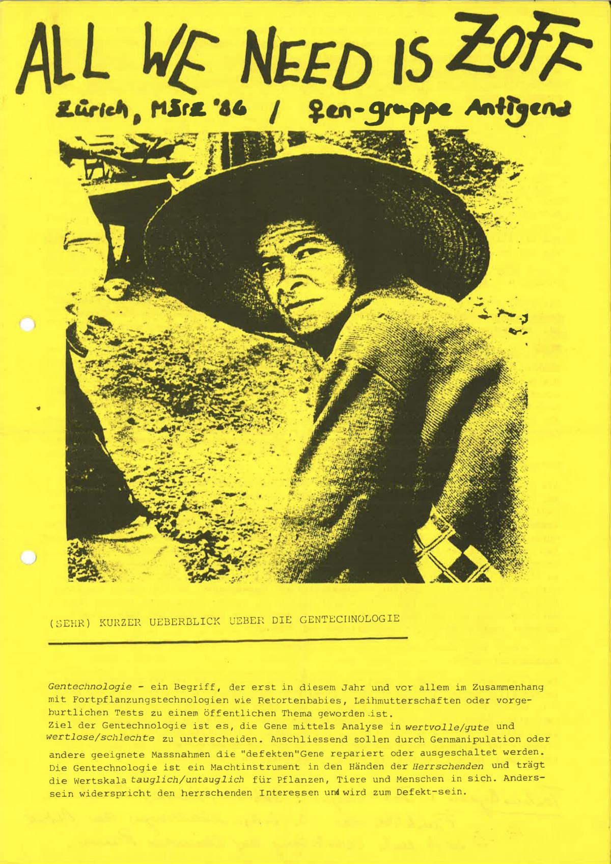 """Titelseite """"All We Need is Zoff"""" Zürich, März 86, frauengruppe Antigena"""
