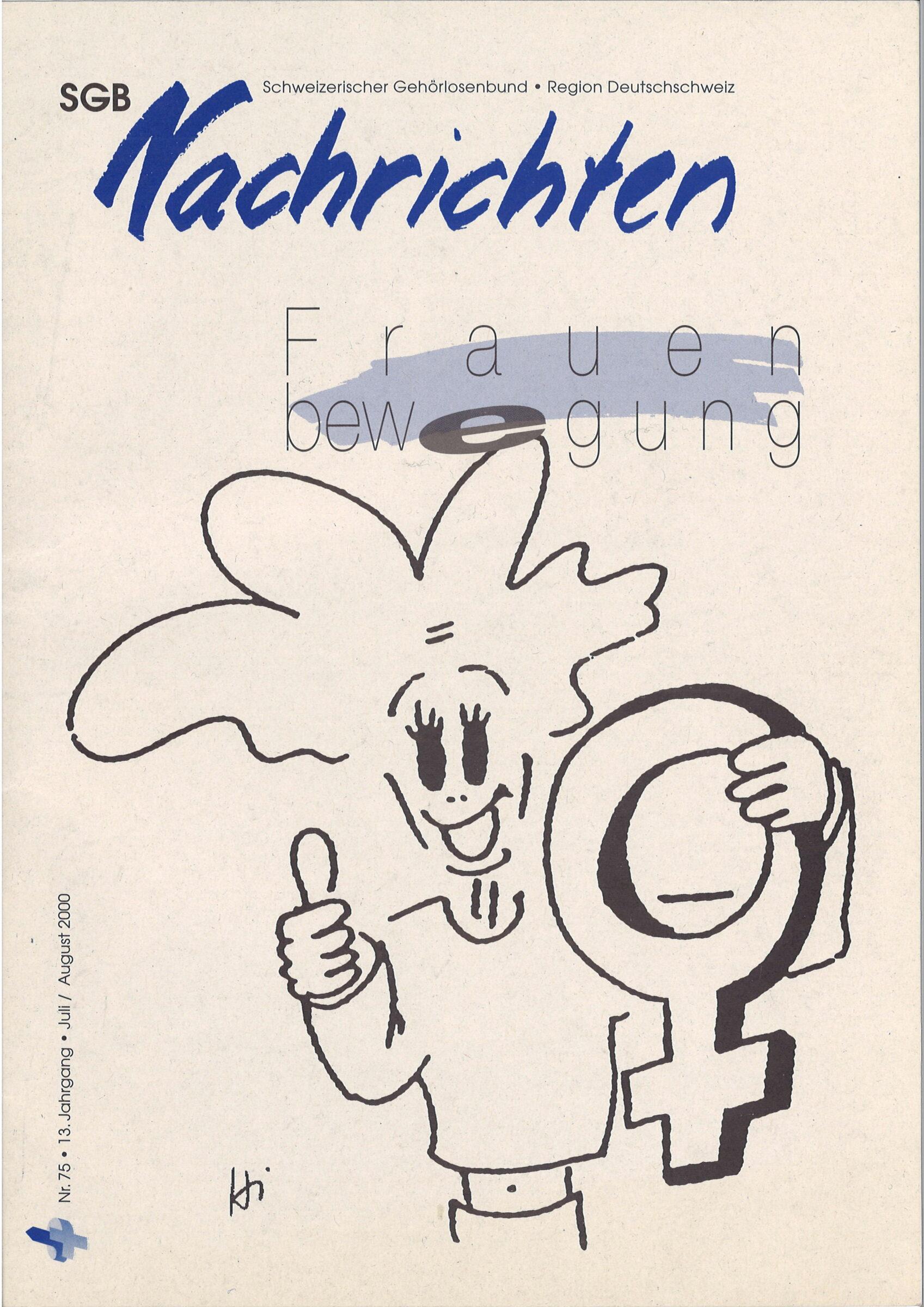 """Titelbild SGB Nachrichten """"Frauenbewegung"""" des Schweizerischen Gehörlosenbund Region Deutschscheiz Nr.75 2000"""