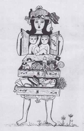 """Ausschnitt aus dem INFRA Plakat, eine Frau gezeichnet als Kommode mit zwi babys im oberen Schrank auf Brusthöhe, zwei Schubladen als Bauch und Unterleib, gefüllt mit Küchenutensilien respektive Wäscheutensilien, ihr Kopf ist eine Ablage für Tabakpfeife """"männlichem"""" Hut, Bierhumpen und -Flasche"""