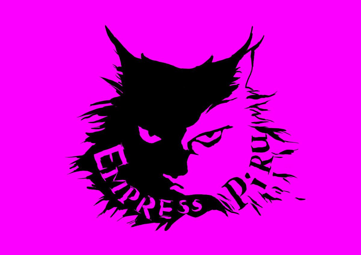 Logo von Emrpess piru, ein schwarz weisser Katzenkopf in dessen Mähne der Name steht auf neonpinkem Hintrgrund. Die Katze schaut böse.