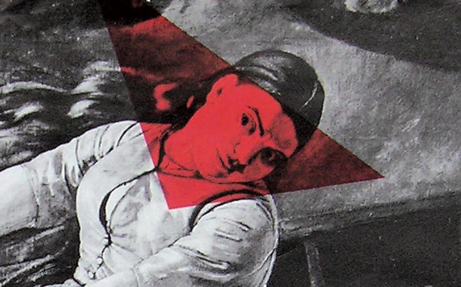 """Ausschnitt vom Plakat der PFG/OFRA: """"Frauen, an die Ruder"""" mit Abbildung einer Frau in einem Boot."""