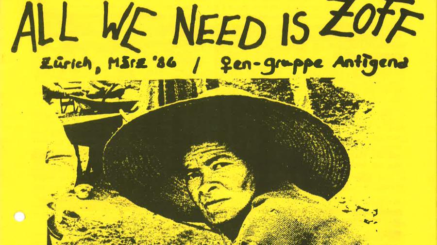 """All we need is Zoff"" Ausschnitt vom Flugblatt der Frauengruppe Antigena."