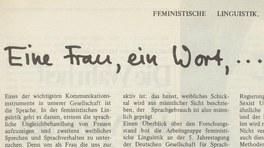 """""""Eine Frau, ein Wort, ..."""" Feministische Linguistik. Bildausschnitt aus dem Artikel in Emanzipation."""