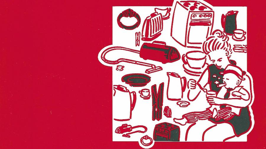 """Ausschnitt aus dem Buchcover von """"Frauen im Laufgitter"""". Roter Hindergrund mit gezeichneter Frau bei der Kindbetreuung umgeben von Haushaltsgeräten und -gegenständen."""