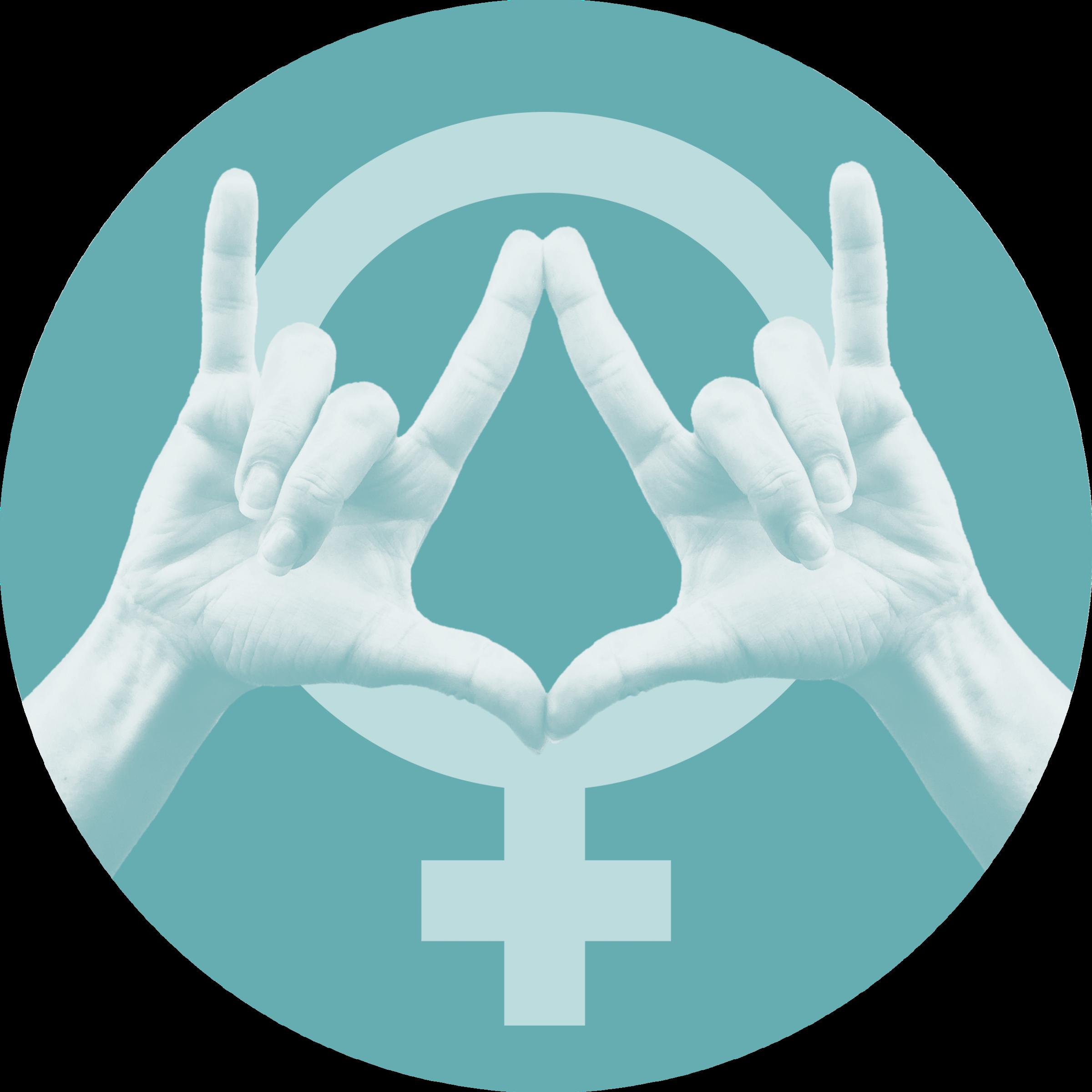 """Venussymbol auf türkisem Hintergrund, davor zwei Hände, welche die Gebärde """"I Love Vagina"""" bilden"""
