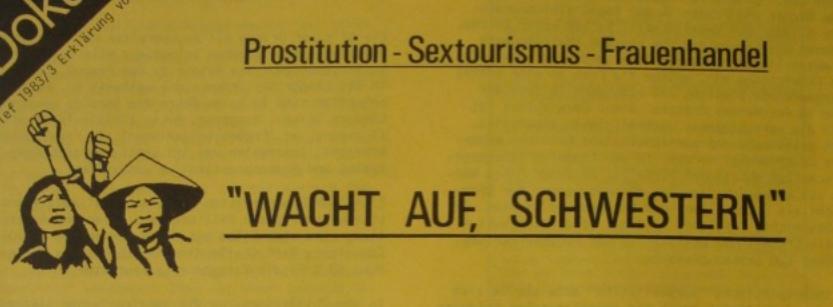 """Ausschnitt aus dem Artikel """"Prostitution-Sextourismus-Frauenhandel"""" ZWichnung von zwei asiatischen Frauen strecken ihre Fäuste in die Höhe daneben steht """"Wacht auf, Schwestern"""""""