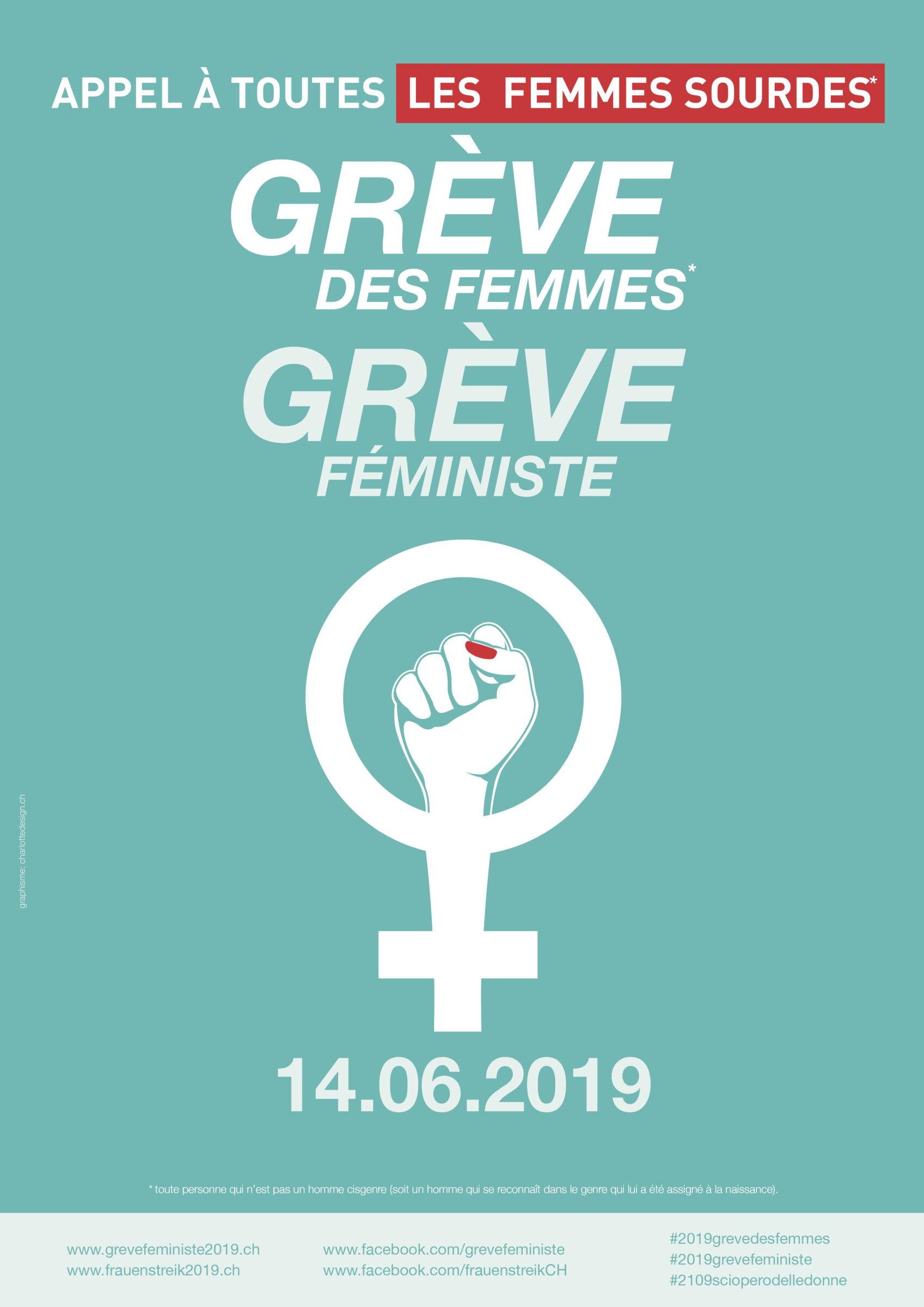 Plakat für den Streik am 16. 6. 2019: Appel à toutes les femmes sourdes pour la grève des femmes*/grève féministe du 14.06.2019
